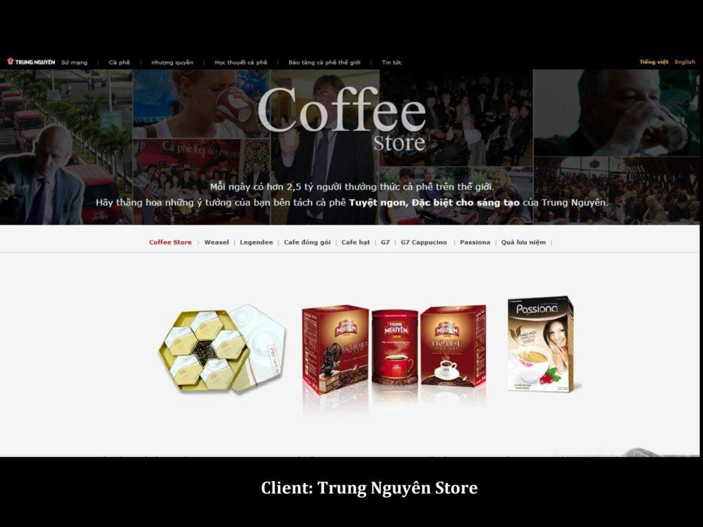 Website của Trung Nguyên Franchising: một khách hàng của SGD.VN