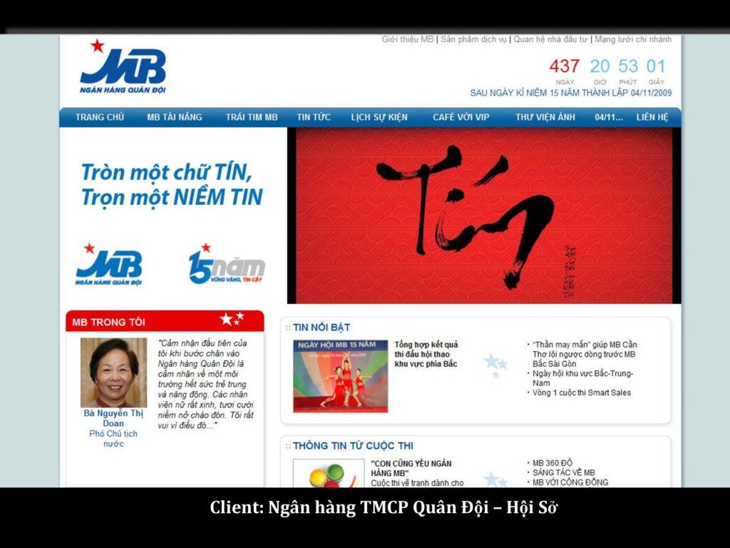 Ngân hàng Quân Đội: khách hàng dịch vụ phát triển website SGD.VN