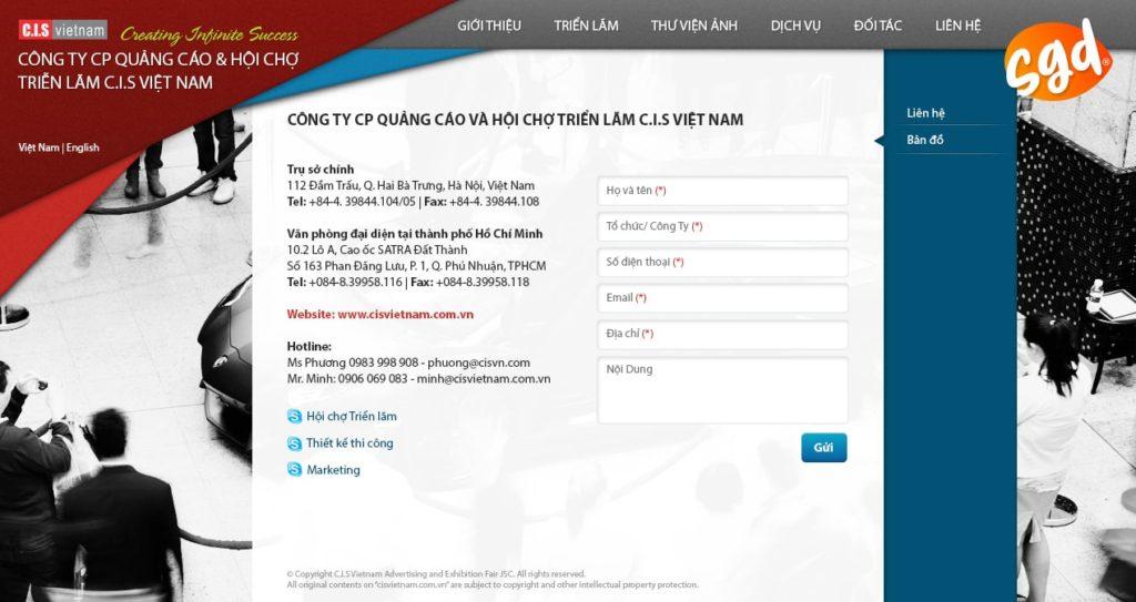 Thiết kế trang Liên hệ website công ty tổ chức sự kiện, hội chợ triển lãm CIS Việt Nam